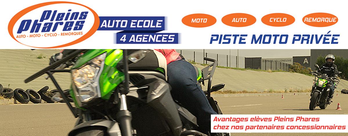 auto moto école pleins phares piste privée le mans permis voiture moto conduite accompagnée